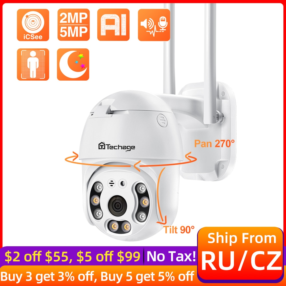 Techage 1080P PTZ WiFi IP Camera H.265X Outdoor Waterproof Security CCTV Camera Smart AI Human Detec