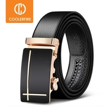 Men Belts Automatic Buckle Belt Genune Leather High Quality Black Male Belts for Men Leather Strap Casual  Buises  for Jeans