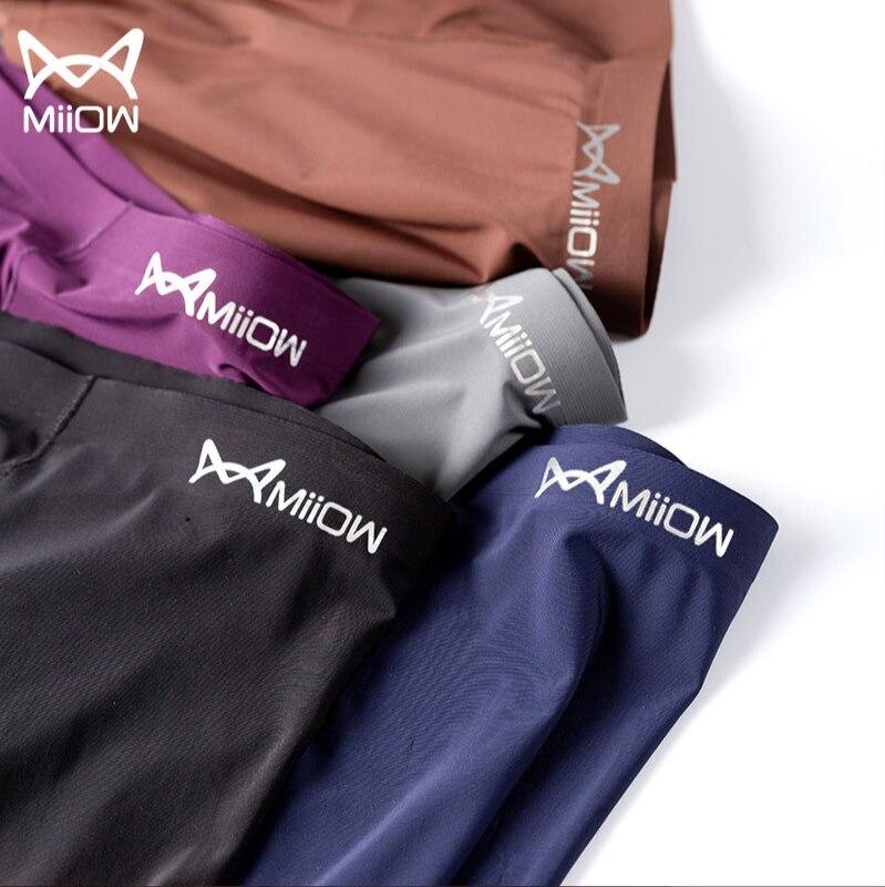 MiiOW Genuine 3-pack Men's Underwear Seamless Ice Silk One Piece Business Mid-waist Boxer Shorts Bre