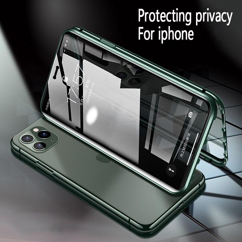 Yuyuyuya privacidade magnética caso para iphone xr x xs max 6s 7 8 plus se2020 11 pro ímã de metal temperado vidro capa 360 caso