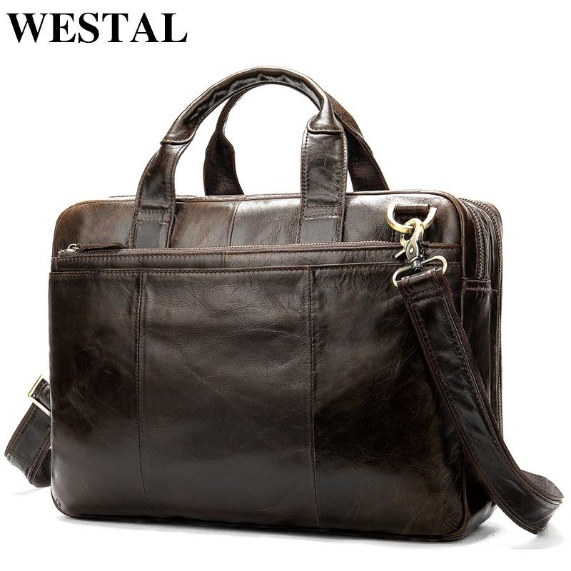 WESTAL Briefcase Male Messenger Bag Men's Genuine Leather Bag for Document Men Shoulder Travel Handbags Satchel Laptop 14 Inch