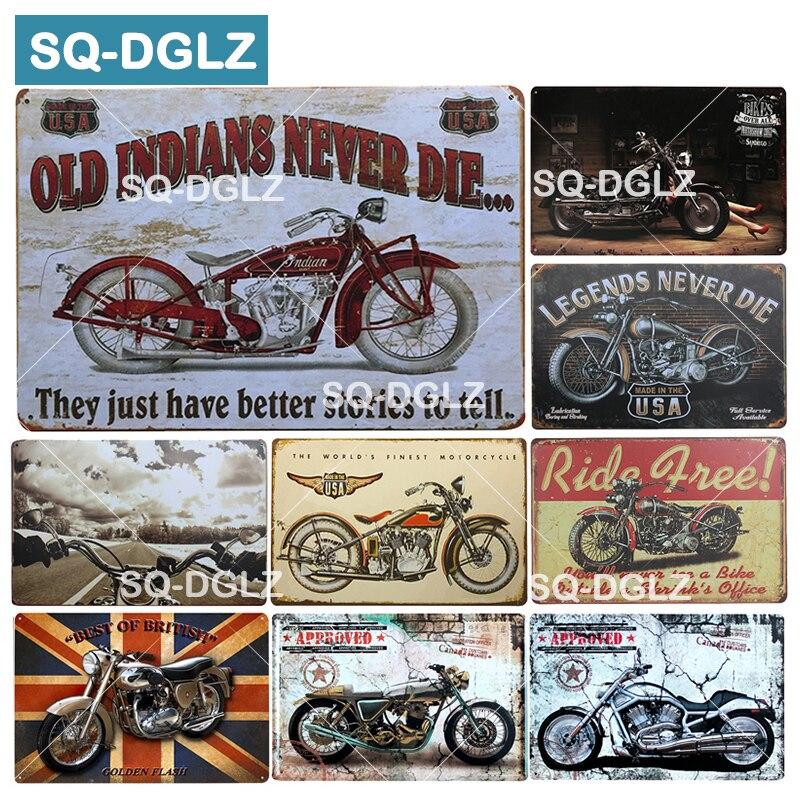 [SQ-DGLZ] eua sinal de metal da motocicleta do vintage placas de metal cafe pub club casa decoração da parede estanho sinais retro placa
