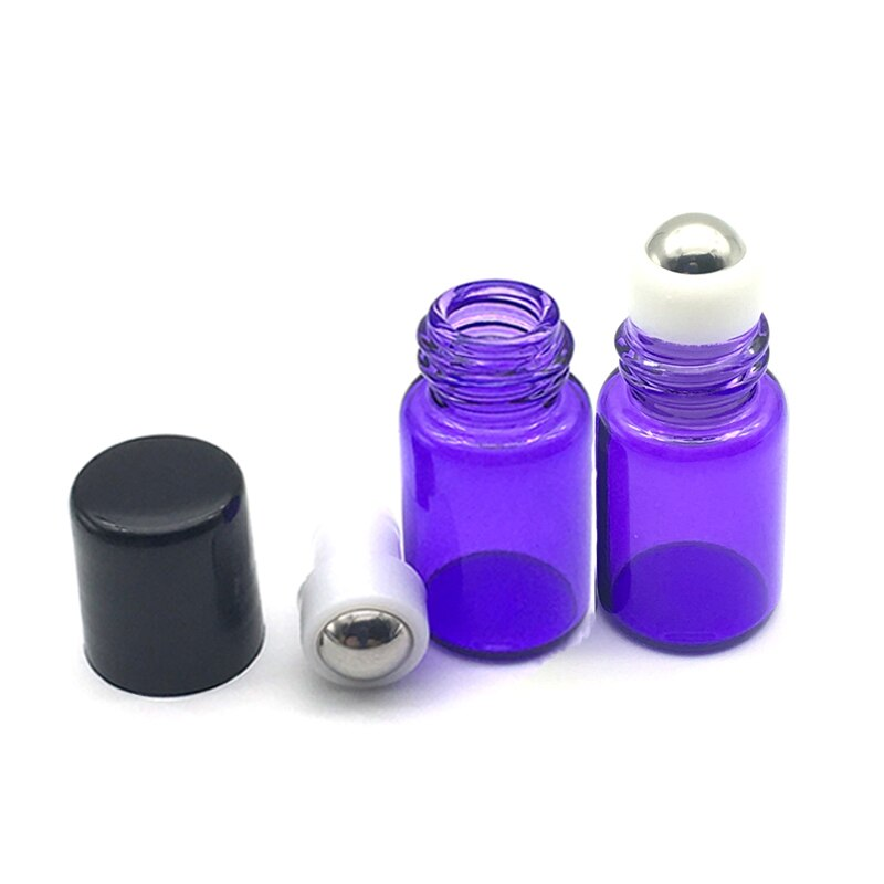 20 pces 2ml rolo roxo-azul na garrafa de perfume de vidro vazio colorido 2cc recarregáveis recipiente de amostra de óleo essencial