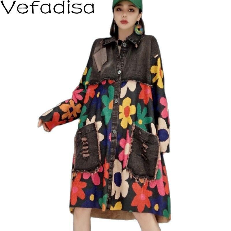 Vefadisa الملونة الأزهار طباعة المرأة خندق 2021 الخريف خمر محبوك المرقعة الدينيم معطف حجم كبير معطف الإناث QYF6460