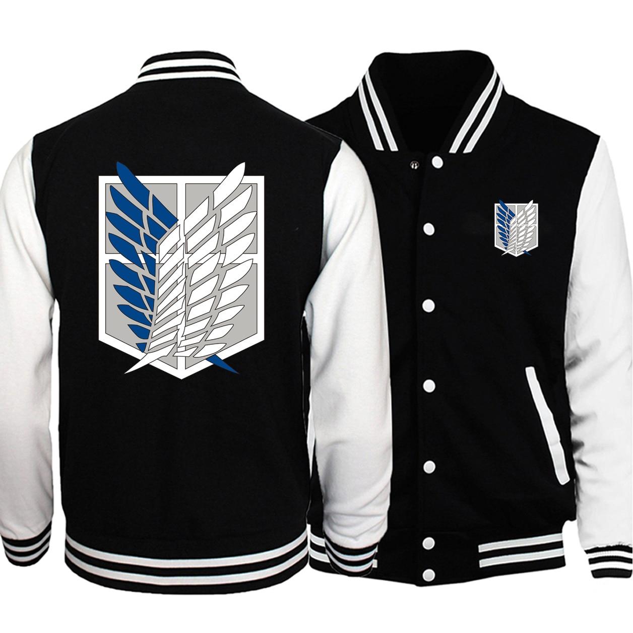 Winter 2019 Hot Sale New Jacket Attack on Titan Japan Anime Bomber Mens Baseball Coat Fashion High Quality Funny Streetwear