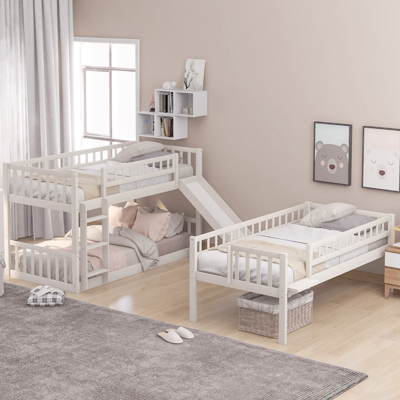 Twin-Over-Twin-Over-Twin Triple Bed With Built-in Ladder And Slide Triple Bunk Bed With Guardrails For Kids