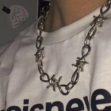2019 New Rock punk Unisex Jean Pants Chain Thorns Spur Necklace Heavy Duty Padlock Choker Metal Collar bracelet