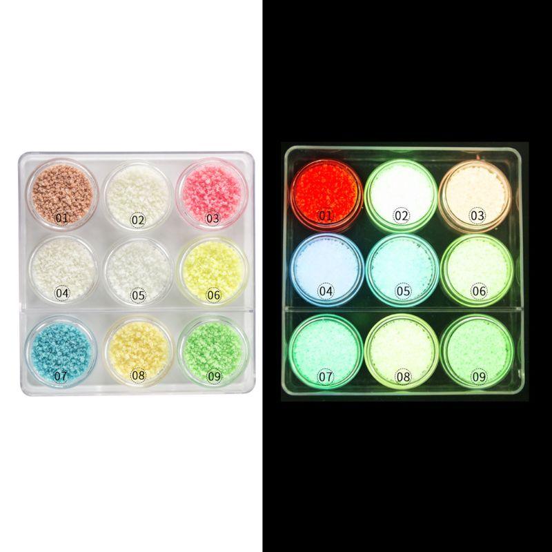 9 pièces fluorescentes brillant lueur dans le sable noir poudre résine Pigment Kit époxy résine bijoux faisant des outils