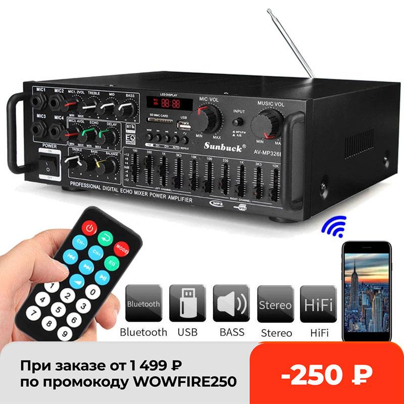 2-канальный Hi-Fi усилитель, усилитель для аудиосистемы, мощность 2000 Вт, 5,0 МГц, 326BT 12 В/220 В, с пультом дистанционного управления, 4 микро-портами ...