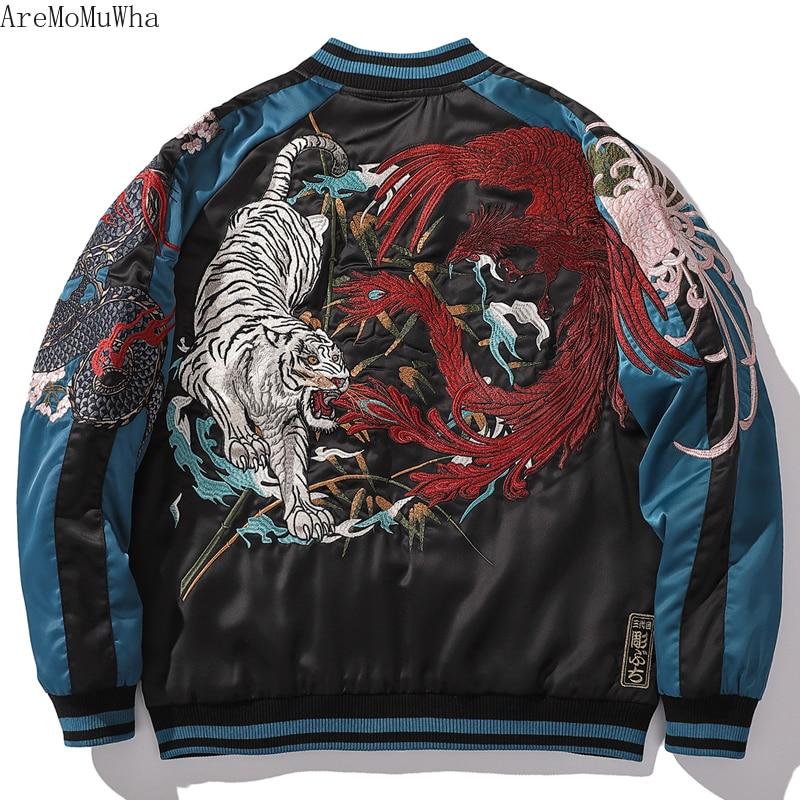 Embroidered Men's Baseball Collar Jacket Cotton Jacket Plus Cotton Yokosuka Dragon Suzaku Embroidered White Tiger Winte Coats