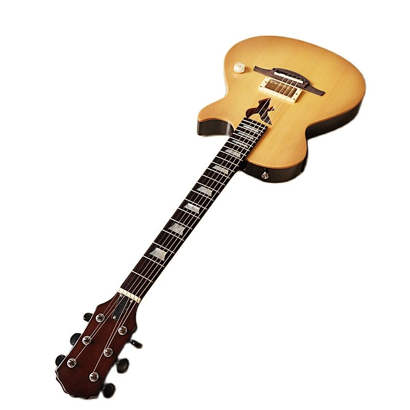 Neck through 39 inch solid wood body silent electric acoustic guitar 6 string silence folk guitar with EQ tuner function natural