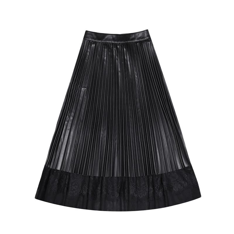 Autumn Genuine Leather Skirt Woman Real Sheepskin High Waist Long Skirts Womens Lace Bodycon Party Sexy Ladies Pleated Clothes