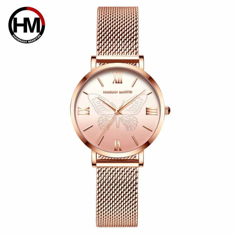 Hannah Martin Fashion Business Quartz Wristwatch Women Watches Luxury Brand Steel Mesh Ladies Watch Gifts for Women Reloj Mujer hannah martin wristwatch women watches luxury brand quartz steel strap female watch diamond ladies watch clock women reloj mujer