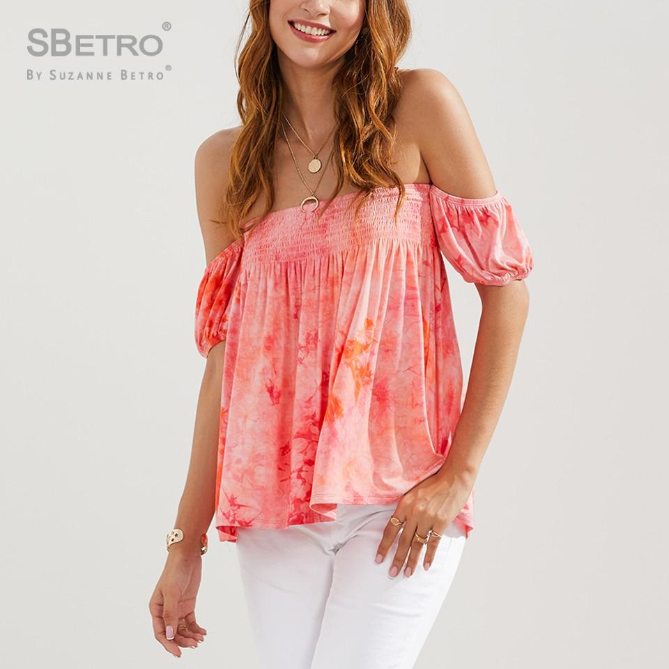 SBetro Tie Dye Off hombro camisa Top mujer moda Puff manga Streetwear pulóver Boho elegante camiseta
