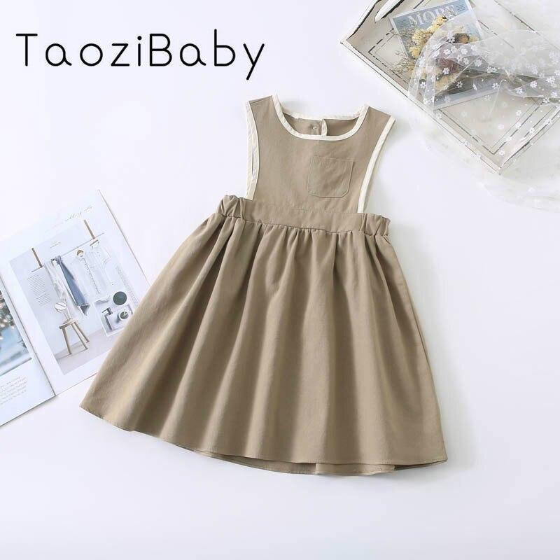 Vestidos infantiles para niñas, novedad de primavera 2020, vestido coreano para niños y niñas, vestido chaleco asimétrico de contraste, vestidos sin mangas para niñas