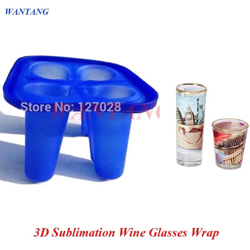 Wtsfwf-4 في 1 كوب نبيذ سيليكون صغير ، مشبك تسامي ثلاثي الأبعاد ، للطباعة على الأكواب