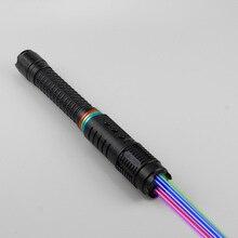 Jsffei Rainbow Laser Pointer Met Zeven Kleuren 470nm Pointer Pen Schakelaar Kleuren Outdoor Laser Zaklamp