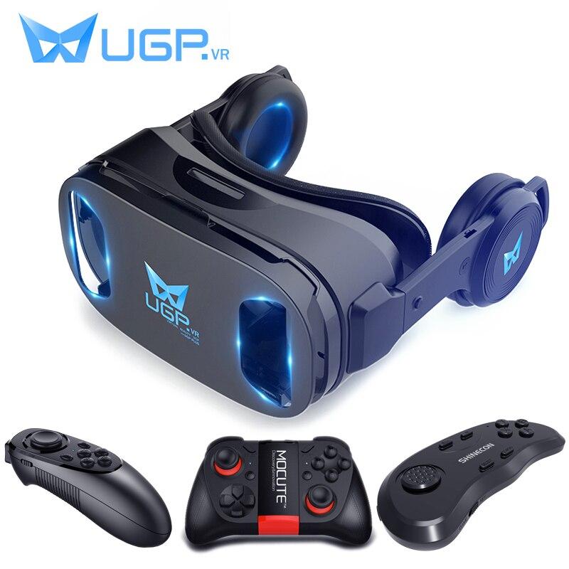 UGP U8 VR gafas 3D auriculares versión IMAX casco de realidad Virtual 3D película juegos con auriculares 3D gafas VR controlador opcional