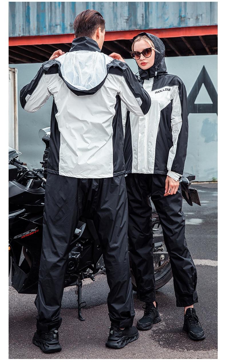Adult Men Waterproof Motorcycle Raincoat Set Fashion Raincoat Outdoor Impermeable Fabric Lightweight Raincoat Suit BG50RC enlarge