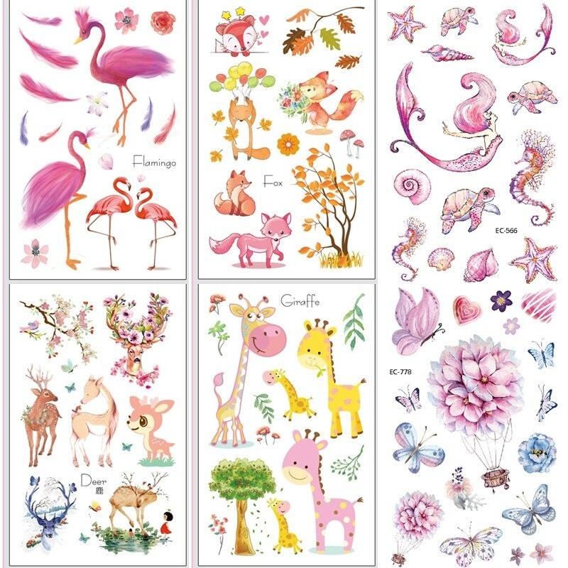 6 hojas mariposa flor tatuajes temporales pegatinas para chico pegatinas tipo tatuaje para niños caballo sirena dinosaurio ciervo tatuaje palo