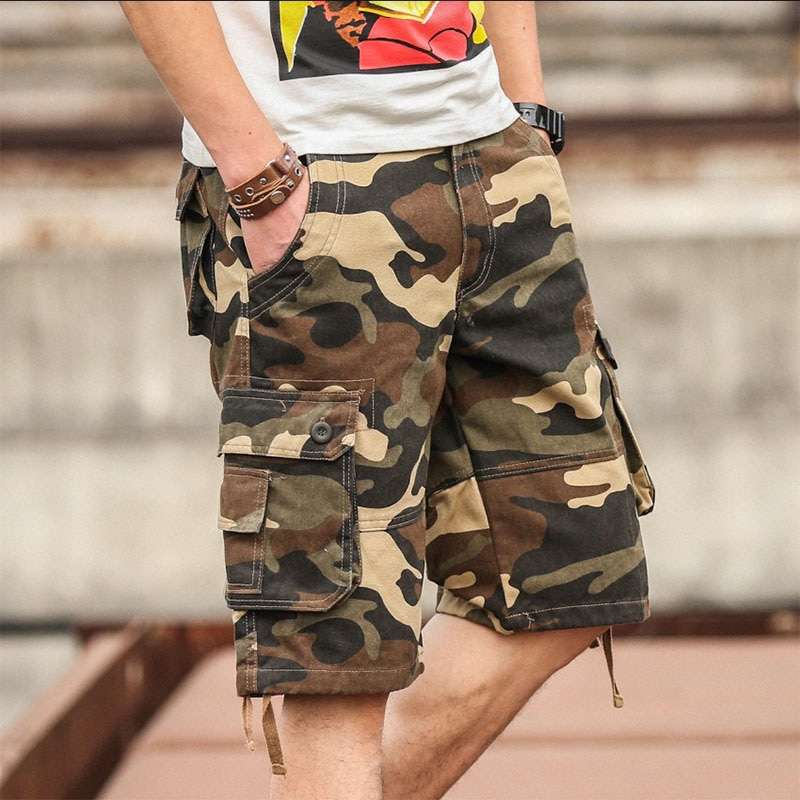 Summer Men's Camouflage Camo Cargo Shorts Casual Cotton Baggy Multi Pocket Army Military Plus Size 44 Breeches Tactical Shorts