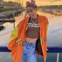 b toto american retro bright orange stitching baseball uniform jacket female tide ins loose bf jacket 2021 new fashion