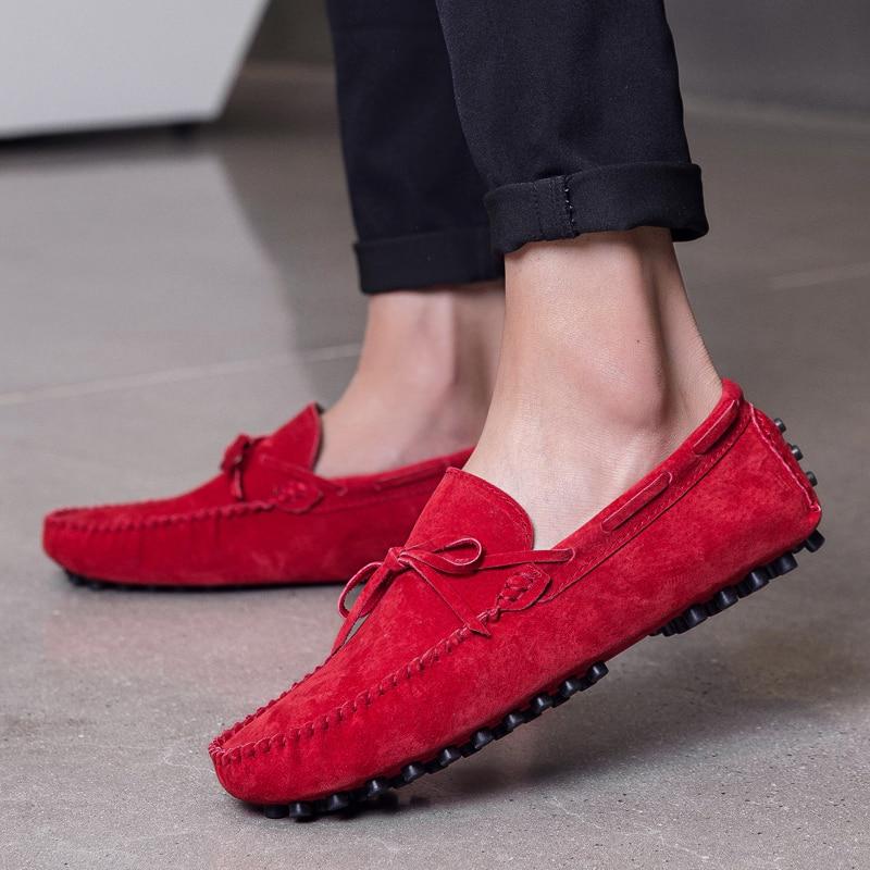 حذاء موكاسين من جلد الغزال الأصلي للرجال ، حذاء إيطالي فاخر ، بدون أربطة ، 2021