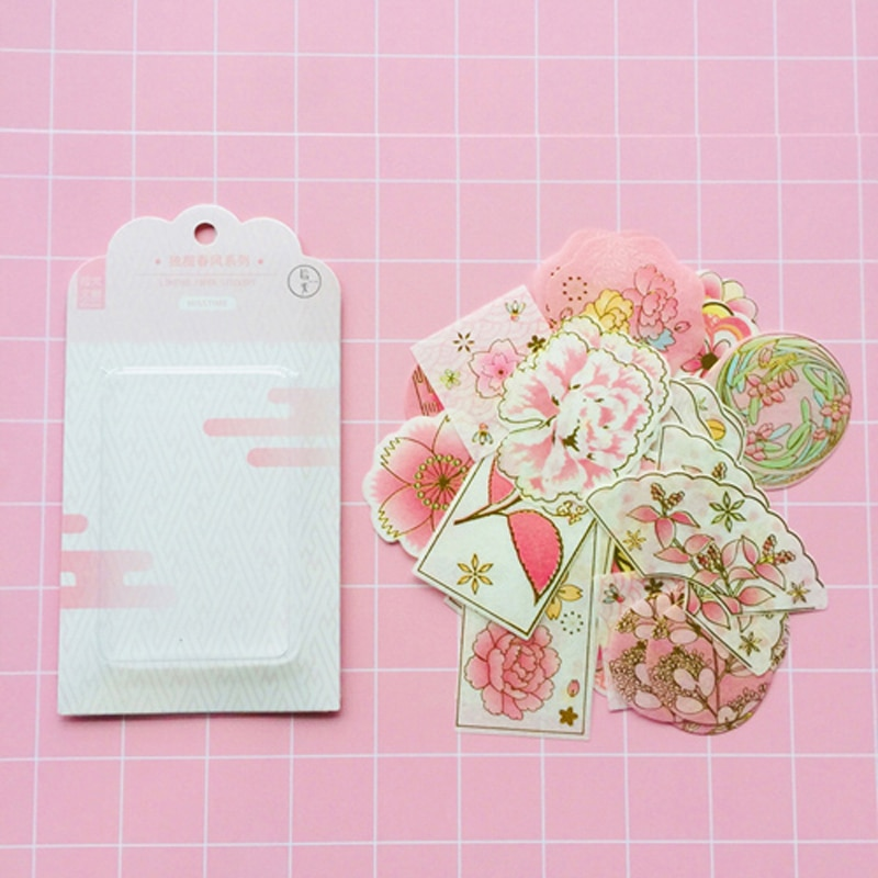 60 листов/упаковка, золотые фольгированные розовые бумажные декоративные наклейки Sakura Washi