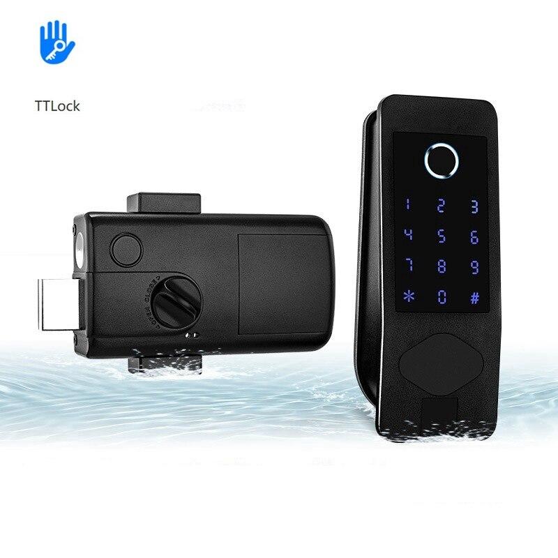 Get TTLock Bluetooth Electronic Door Lock Digital Fingerprint Mortise Lock With IC Card Password APP Unlock Keyless Smart Door Lock
