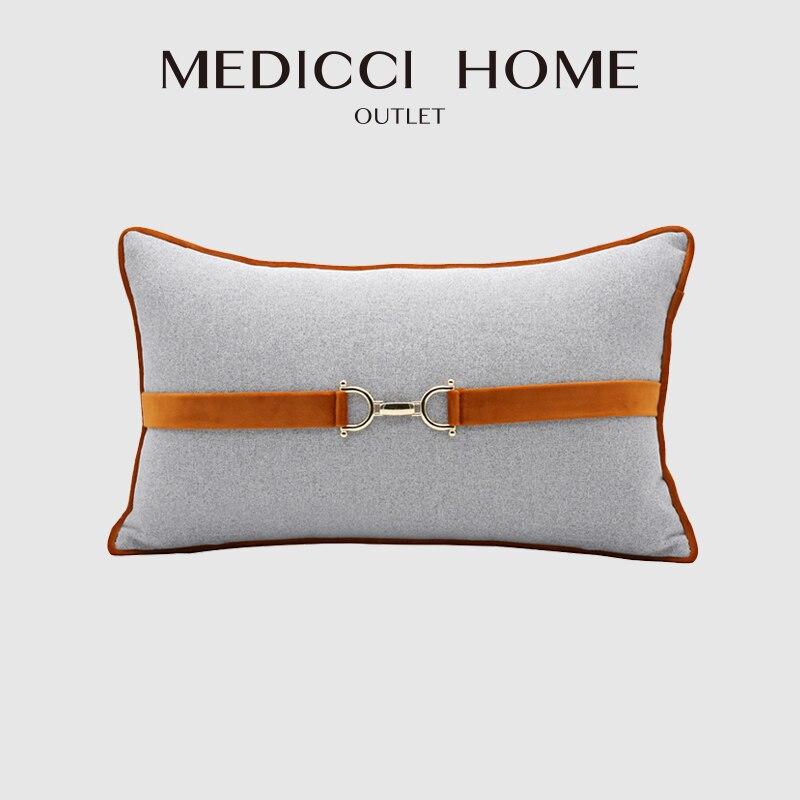 ميدتشي المنزل أعلى درجة غطاء الوسادة H برتقالي رمادي اللون الحصان مشبك الديكور الفاخرة قطني المخدة 30X50 شحن مجاني