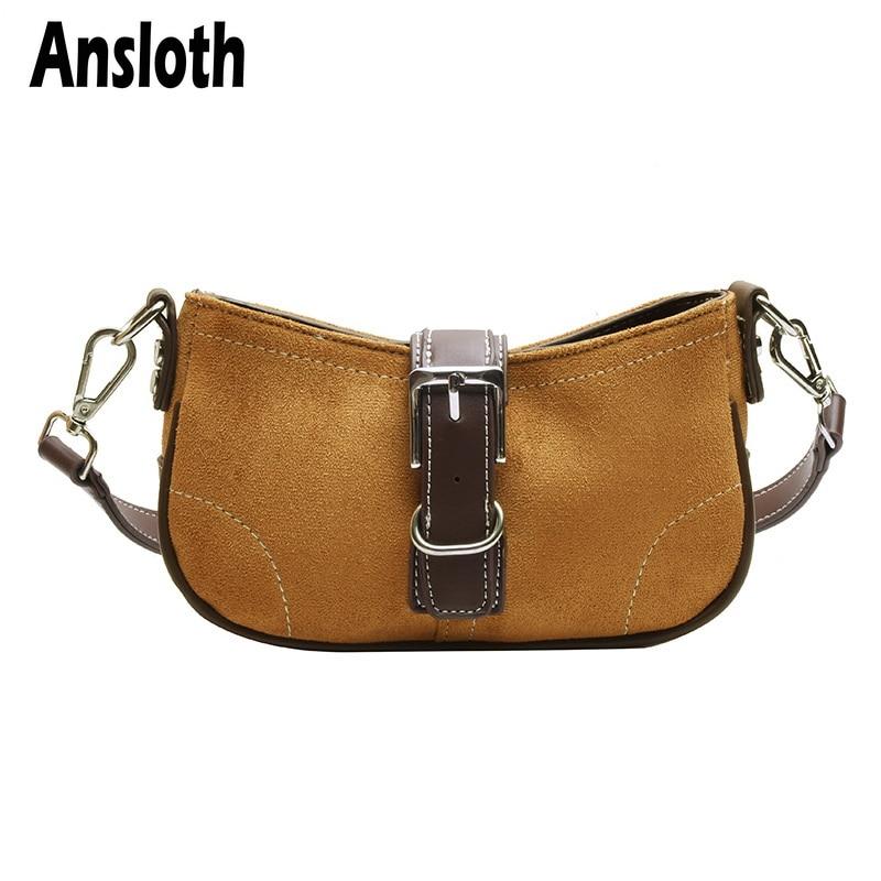 Ansloth Panelled Square Bags For Women Bags Canvas Shoulder Bags Ladies Hit Color Crossbody Female Fashion Bag Handbags HPS758