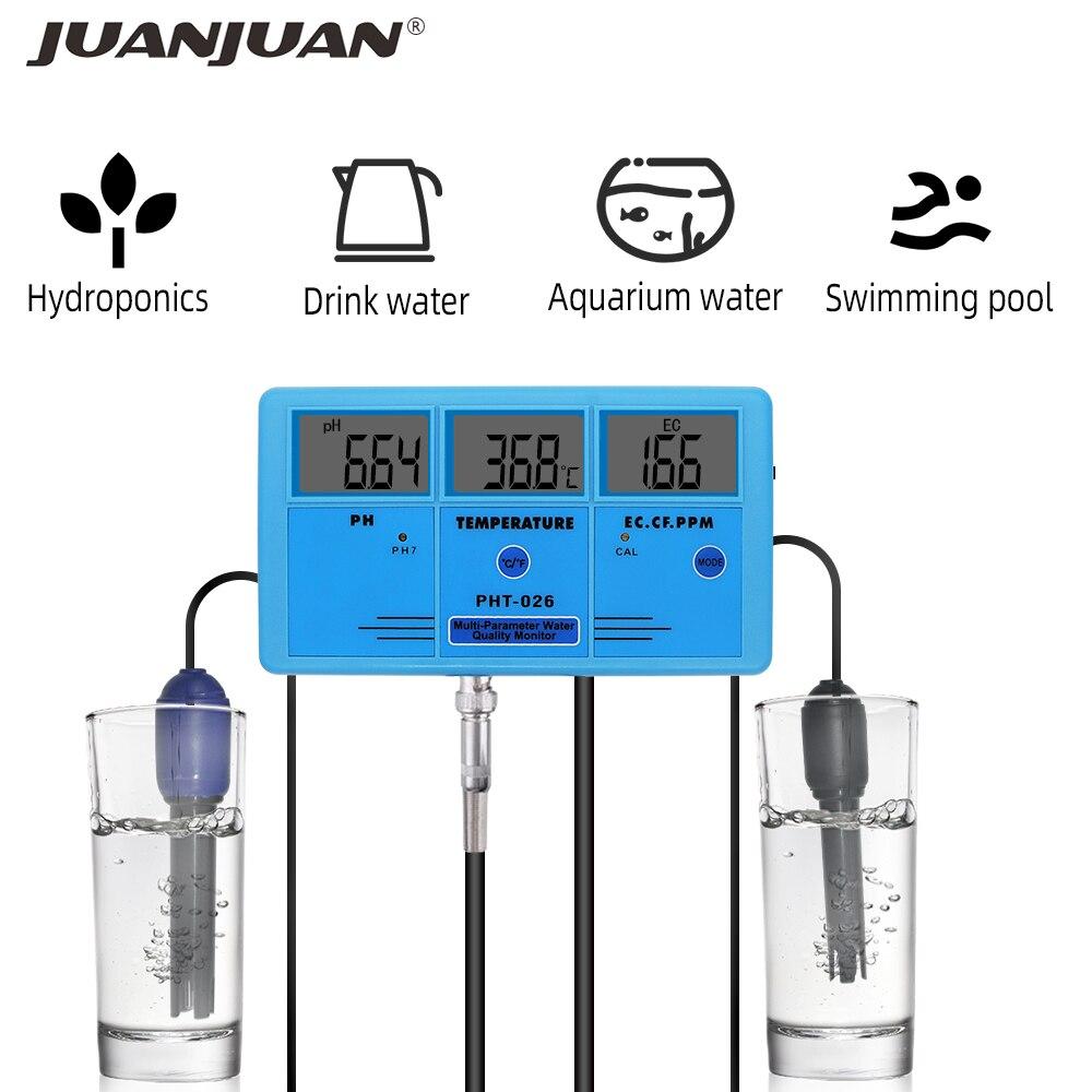 Multi-parameter PHT-026 water quality monitor Ph Meter TDS Temp Conductivity Detector Aquarium Online Measurement Analysis Tool