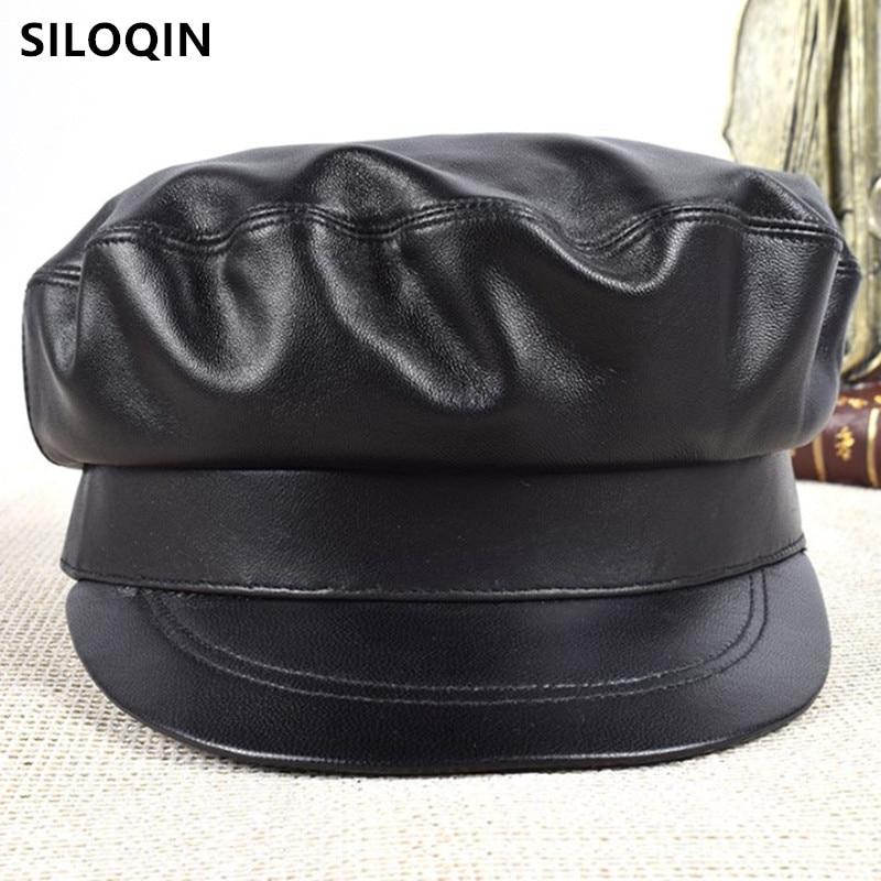 SILOQIN-قبعة من الجلد الطبيعي والجلد للرجال والنساء ، قبعة عسكرية من جلد الغنم ، نمط بانك ريترو ، أسود