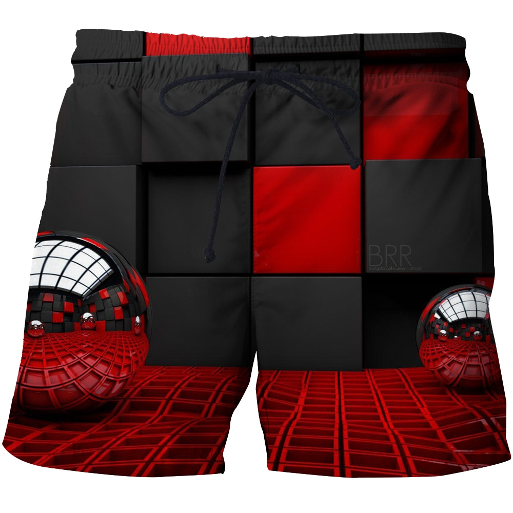 2021 Summer Men's Quick Drying Cube Beach Pants Fat Edition Plus 3D Printed Shorts European and American Summer Sports Pants
