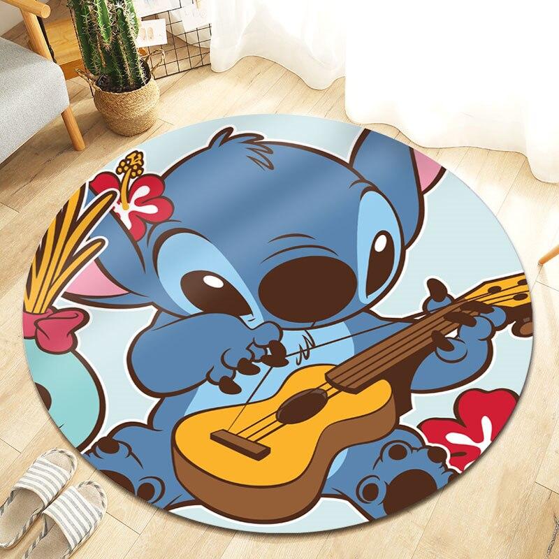 Детский игровой коврик Disney Lilo & Stitch, круглый коврик 100 см для гостиной, большой спальни, коврики, нескользящий напольный коврик