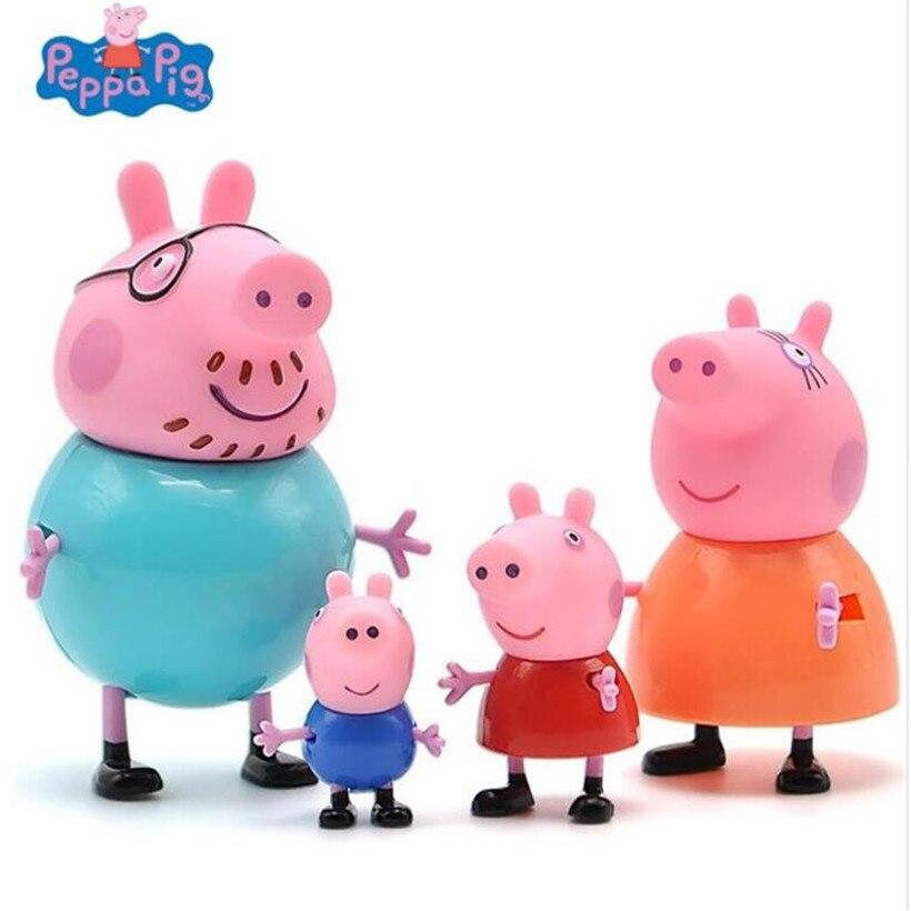 Peppa Pig familia juguetes de adorno George padre madre abuelo abuela figura de acción MODELO DE Pelucia niños regalos