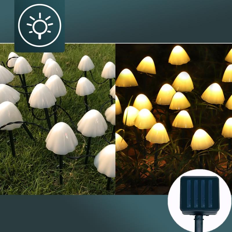 Светодиодные светильники для украшения сада, декоративные гирлянды в виде грибов, уличные сказочные светильники на солнечной батарее, садо...