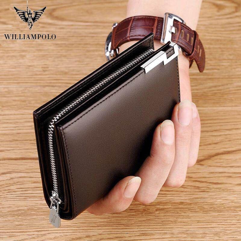 WILLIAMPOLO-محفظة جيب بسحاب ، حامل بطاقات قصير فاخر