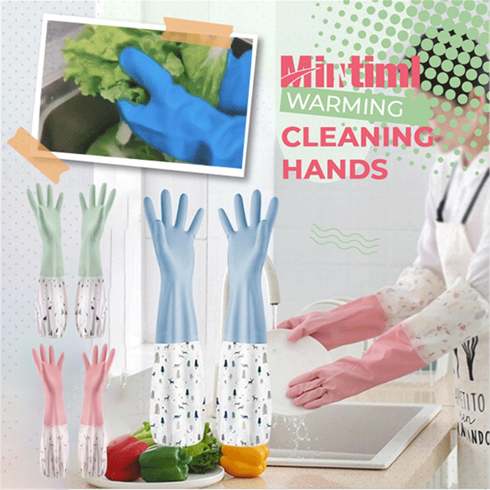 Luva longa lavar pratos luvas de limpeza doméstica cozinha à prova dwaterproof água dishwashing luvas bandas de borracha luvas esfrega luva