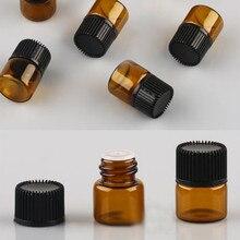 100 pièces 1ml huile essentielle conteneur vide verre échantillon bouteille Mini ambre bouteilles rechargeables pour le stockage de parfum