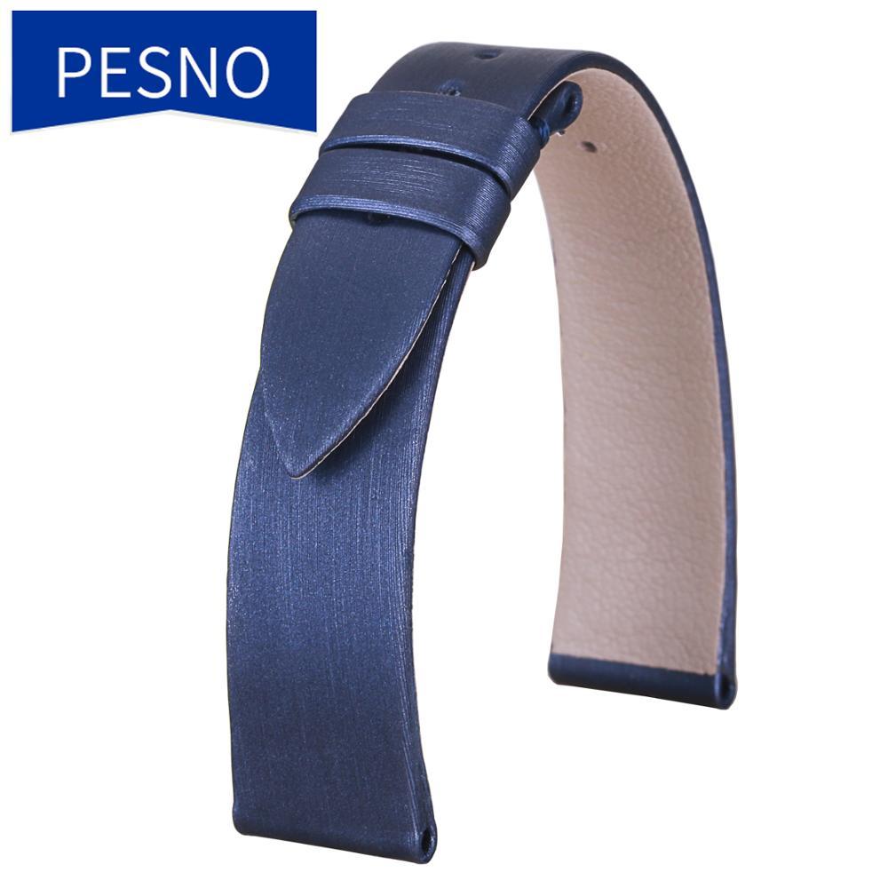 PESNO حقيقية العجل الجلد سوار جلدي للساعة لينة نسج الحرير حزام (استيك) ساعة 16 مللي متر أسود أبيض الأزرق الداكن النساء ساعة معصم اكسسوارات