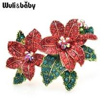 Wuli & baby красный цветок из стразов Броши для женщин сплав красивая брошь-цветок булавки новогодние подарки