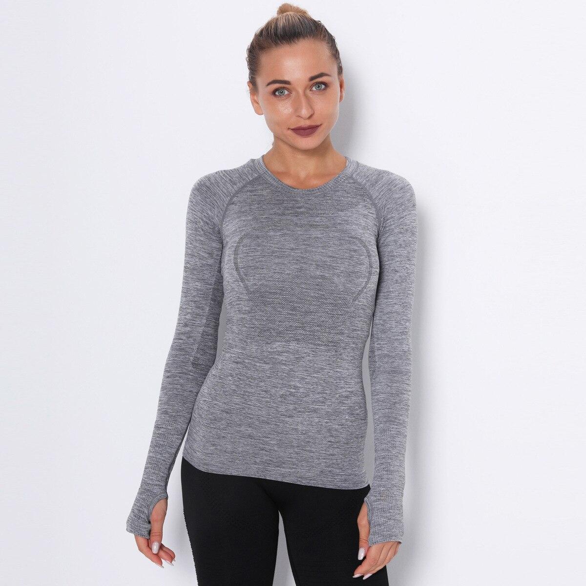 Camiseta Lulu DE Yoga deportiva de manga larga con cuello redondo y secado rápido para mujer