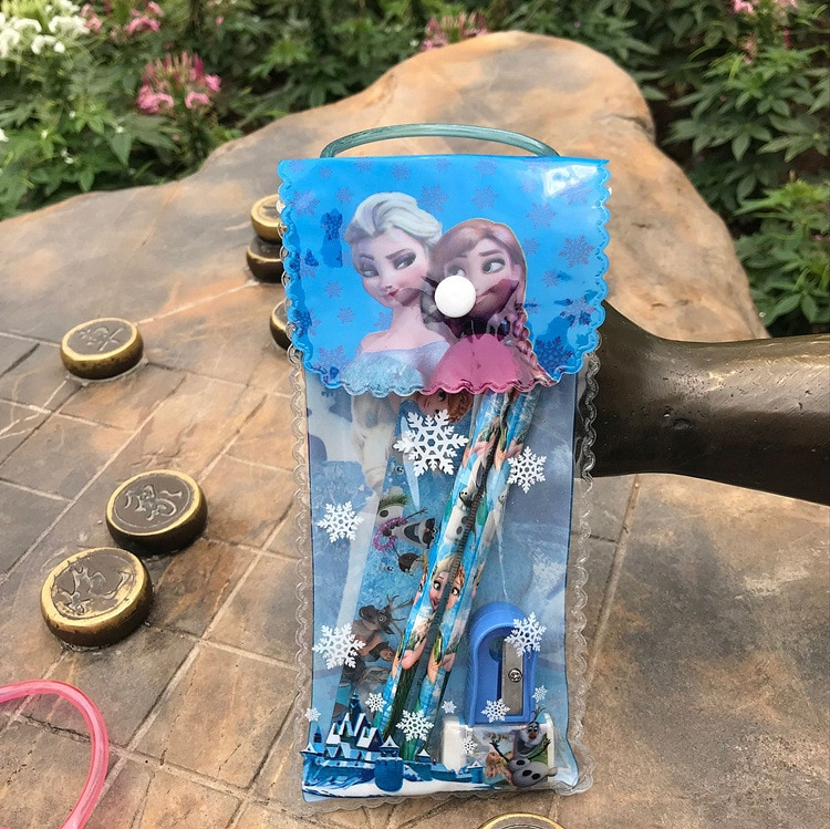 Disney 6pcs/set Frozen Pencil case+ruler+pencil+eraser+Booklet+Pencil sharpener stationery Childrens Day gift School supplies