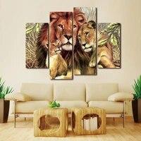 Toile de peinture murale une famille de trois Lions  4 panneaux  peinture murale  images dart pour salon  maison  bureau  decoration