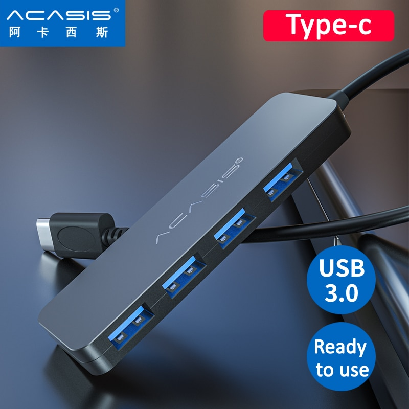 Acasis USB 3.0 Hub 4 Port Multi Power Adapter Hub USB 3,0/Type-c/ for PC Computer Accessories USB Splitter for Macbook enlarge