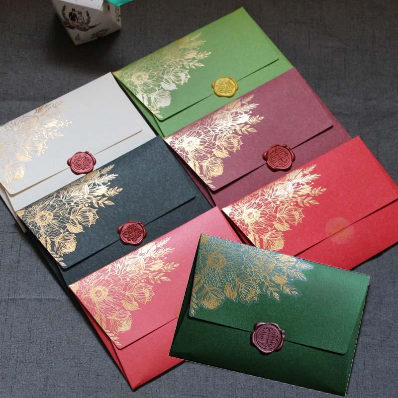 40pcs/lot New High Grade Pearl Paper Envelopes 125mmX175mm European Bronzing Pattern Envelope Bag