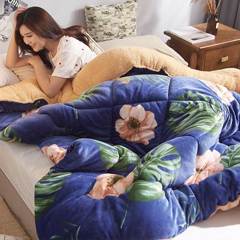 Lambswool edredón invierno colcha caliente franela AB cama lateral edredón grueso cálido Cordero abajo edredón Hotel textil hogareño de lujo