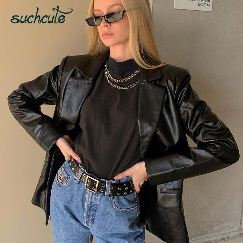 SUCHCUTE PU women leather jacket autumn coat 2020 streetwear black women Jacket y2k esthetic gothic vintage 90s outfits