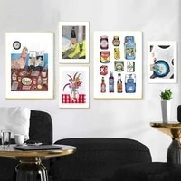abstract store cupboard cartoon posters wall art prints food coffe canvas painting for dining room decor flowers decor pictures